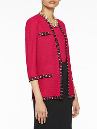 Plus Size Pearl Trim Textured Knit Jacket