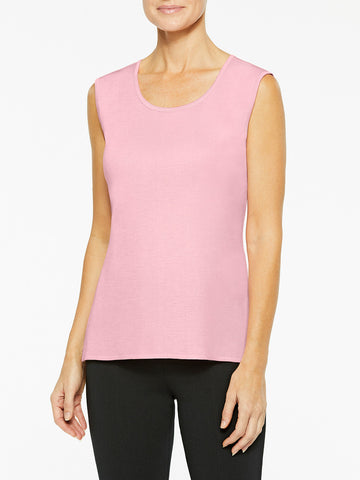 Plus Size Classic Knit Tank Top, Carnation Pink