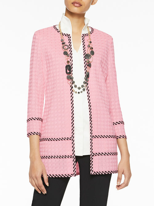 Plus Size Stripe Trim Grid Knit Jacket