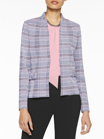 Pastel Plaid Knit Blazer