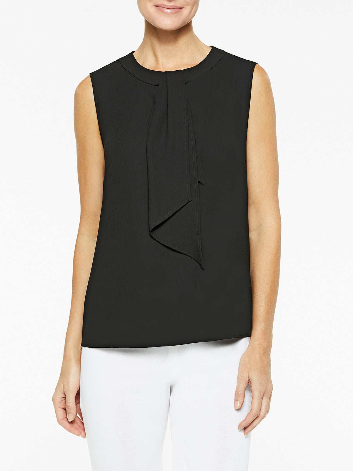 Drape Tie Neck Crepe de Chine Blouse, Black