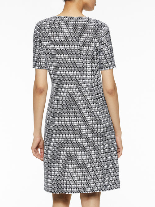 Square Neck Digital Knit Sheath Dress