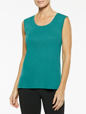 Plus Size Classic Knit Tank Top, Mosaic Green