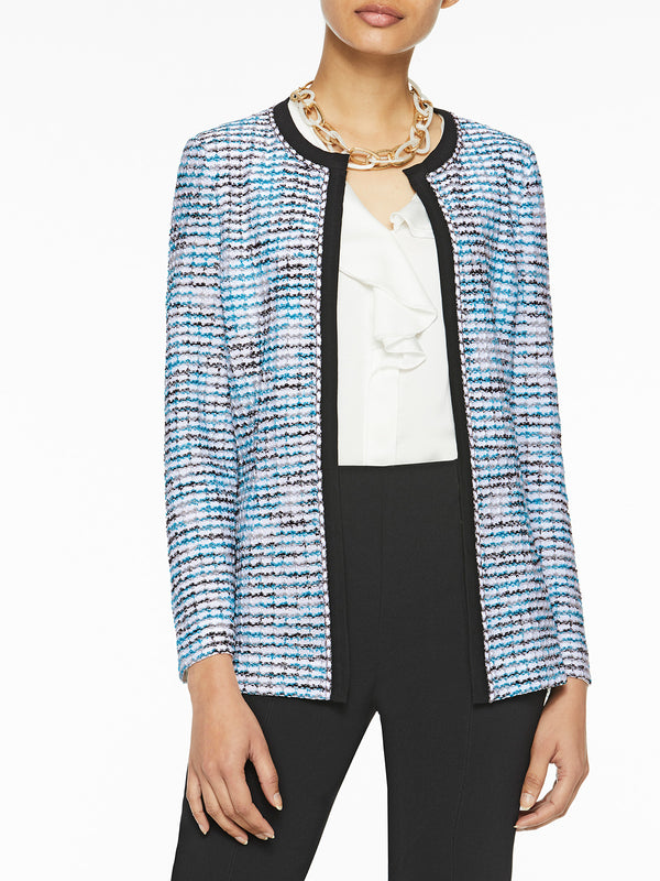 Chain Trim Textured Knit Jacket