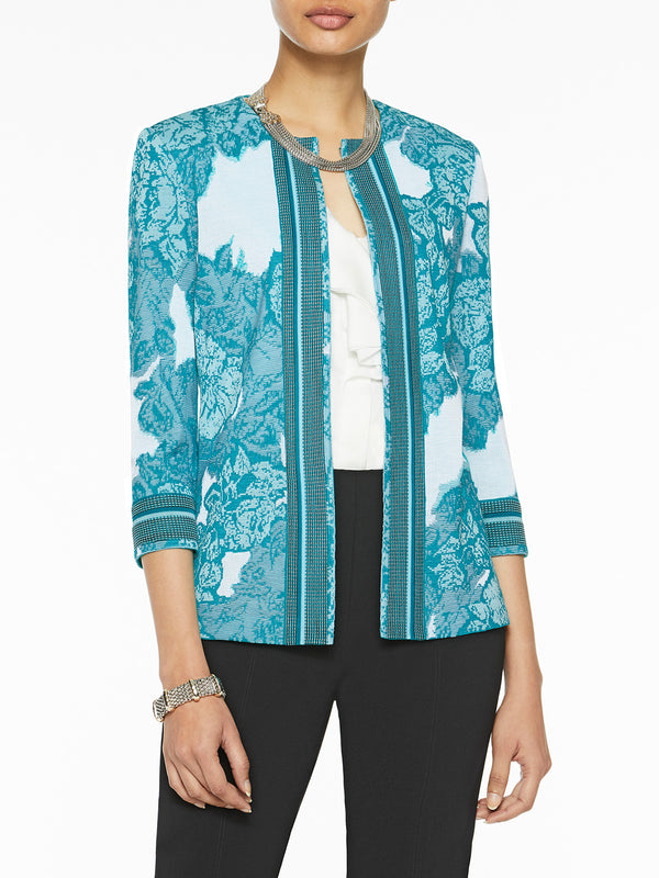 Bold Floral Pattern Knit Jacket