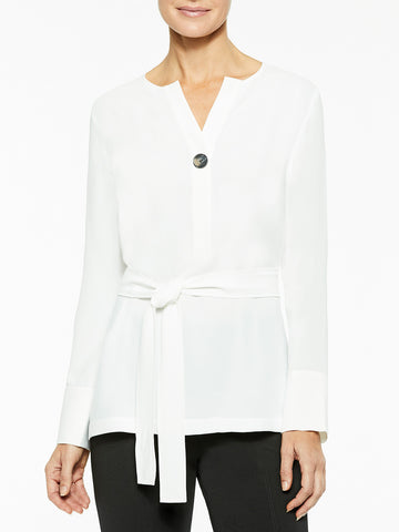 Belted Crepe de Chine Blouse