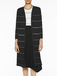 Silver Stripe Knit Duster-Misook