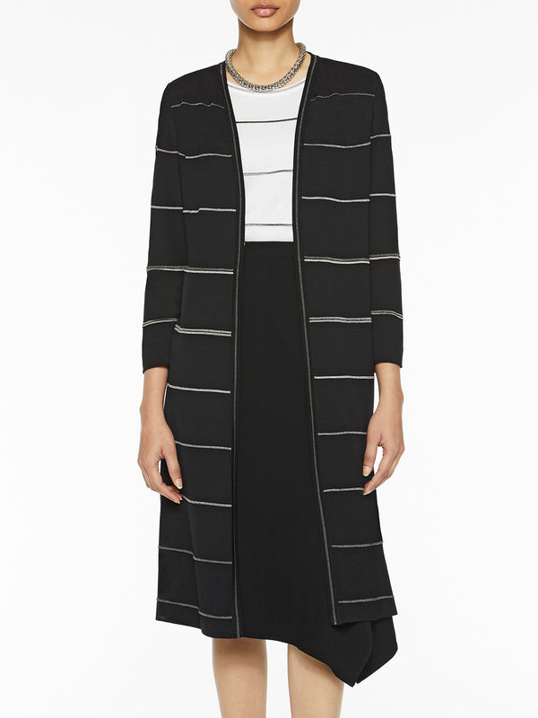 Silver Stripe Knit Duster