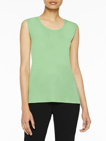 Plus Size Classic Knit Tank Top, Spring Green
