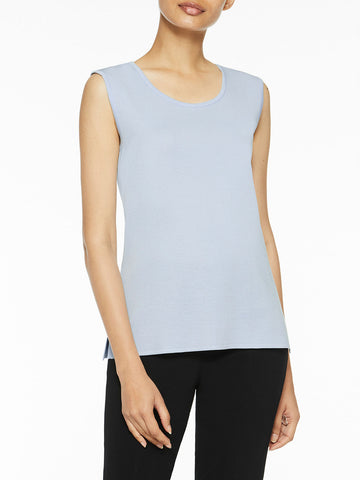 Plus Size Classic Knit Tank Top, Ice Blue