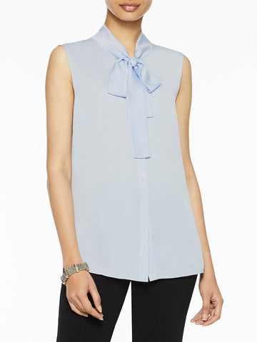 Plus Size Tie-Neck Crepe de Chine Blouse, Ice Blue