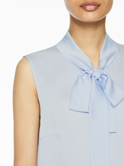 Plus Size Tie-Neck Crepe de Chine Blouse, Ice Blue – Premium Details – Misook