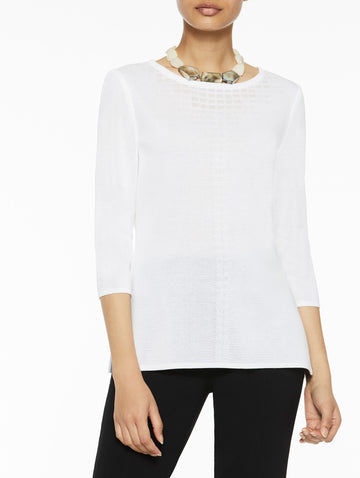 Graduated Sheer Yoke Knit Tunic