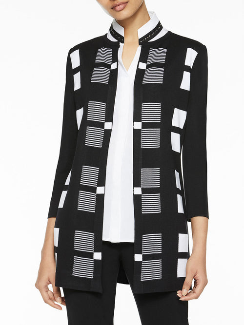 Plus Size Multi-Check Knit Jacket – Misook