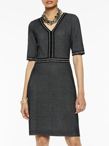 V-Neck Birdseye Knit Dress