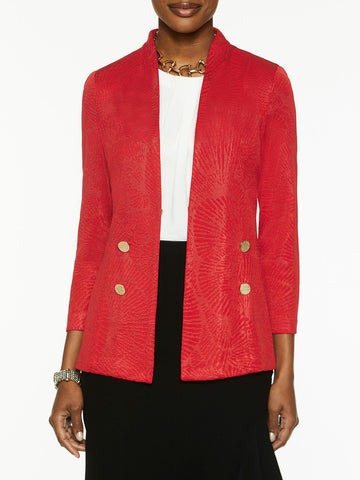 Plus Size Button Trim Lustrous Floral Knit Blazer