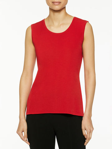 Plus Size Classic Knit Tank Top, Apple Red
