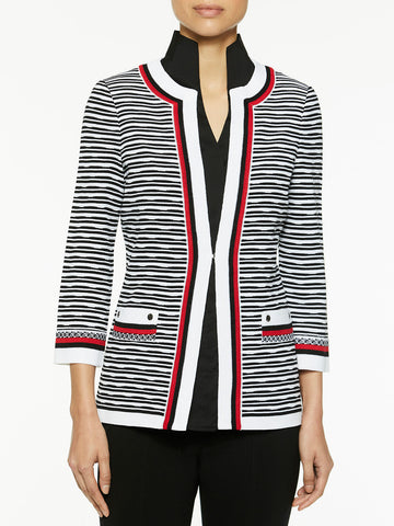Contrast Trim Textured Knit Jacket