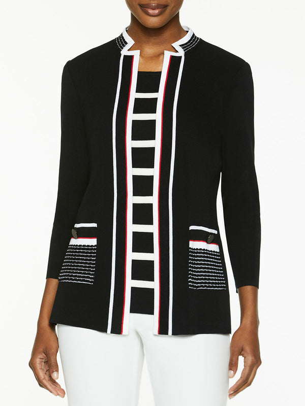Plus Size Contrast Pocket Knit Jacket