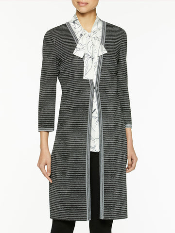 Petite Silver Ribbed Knit Duster