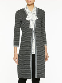 Plus Size Silver Ribbed Knit Duster – Misook
