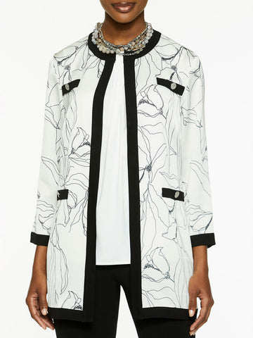 Plus Size Abstract Floral Mixed Media Jacket