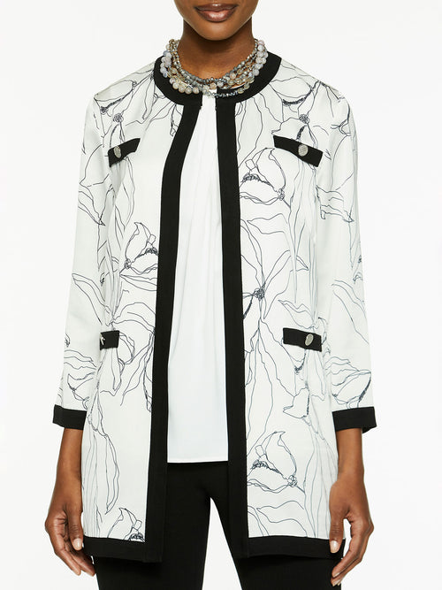 Plus Size Abstract Floral Mixed Media Jacket – Misook