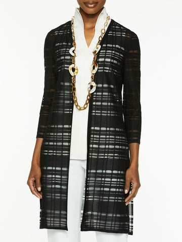 Plus Size Sheer Grid Knit Duster