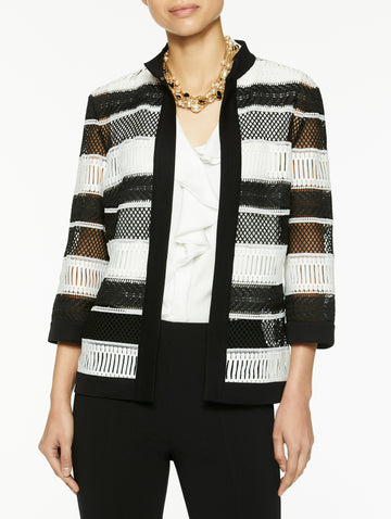 Petite Knit Trim Woven Lace Jacket