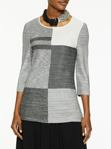 Colorblock Melange Knit Tunic