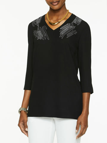 Embroidered V-Neck Crepe de Chine Tunic