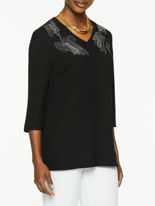Embroidered V-Neck Crepe de Chine Tunic – Misook