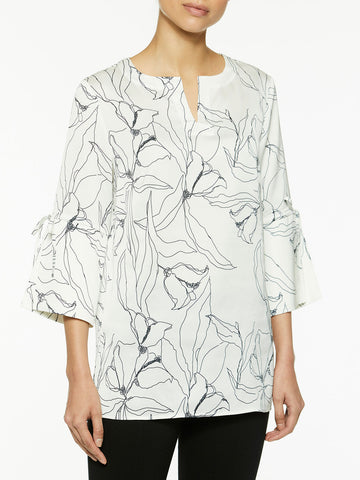 Abstract Floral Tie Sleeve Tunic