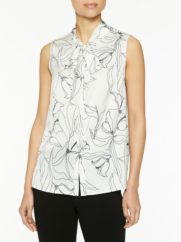 Abstract Floral Tie Neck Blouse – Misook