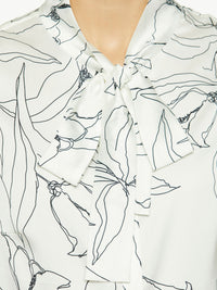 Abstract Floral Tie Neck Blouse