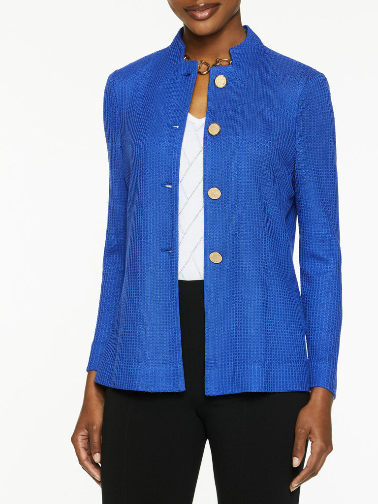 Button Front Tailored Knit Jacket