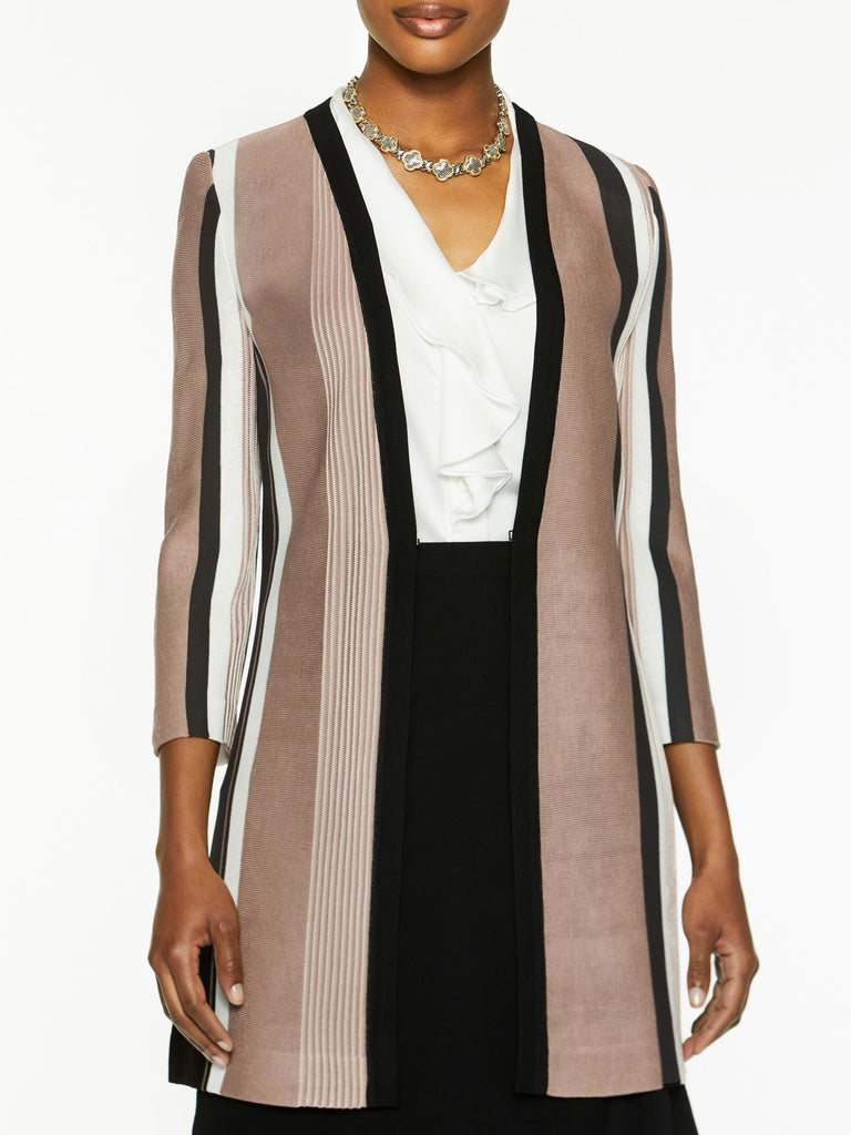 Bold Stripe Easy Knit Jacket-Misook