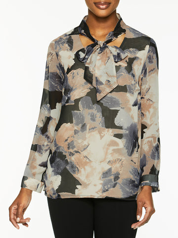 Abstract Watercolor Tie-Neck Blouse