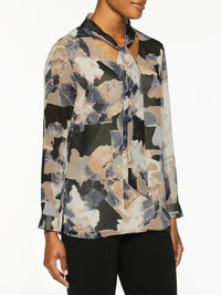 Abstract Watercolor Tie-Neck Blouse-Misook