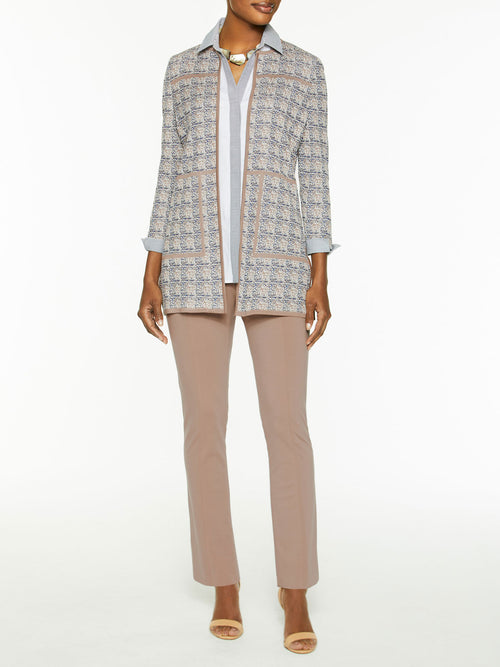 Contrast Piped Jacquard Knit Jacket