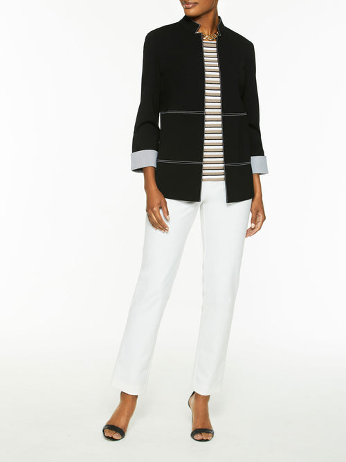 Contrast Stitch and Cuff Ponte Jacket