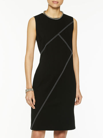 Contrast Stitch Ponte Sheath Dress