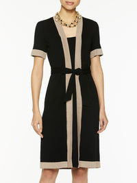 Bold Contrast Trim Inset Knit Dress