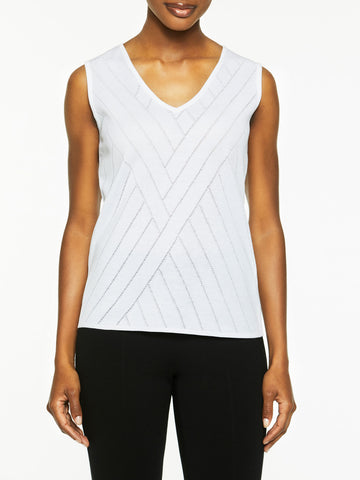 Plus Size Directional Burnout Knit Tank Top