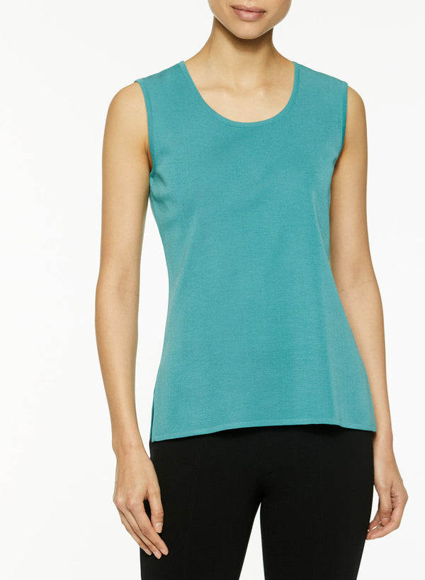 Plus Size Classic Knit Tank Top, Forest Green-Misook