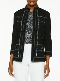 Animal Print Piped Ponte Jacket