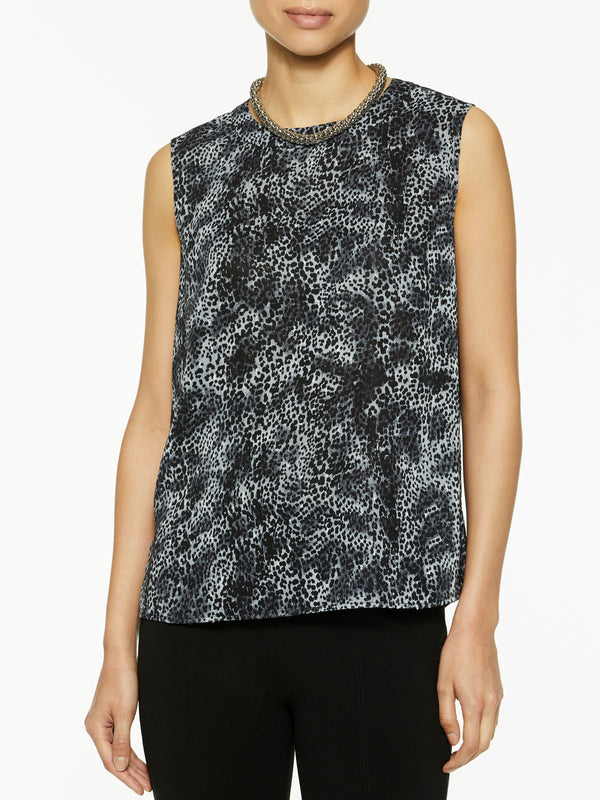 Animal Print Sleeveless Blouse