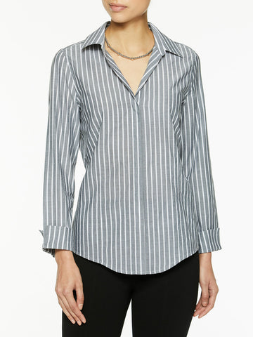 Petite Classic Stripe Cotton Button-Up Shirt