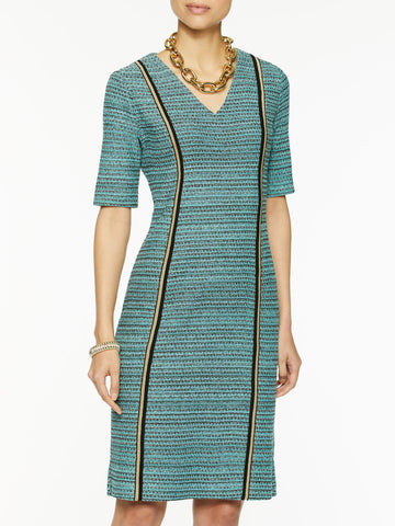 V-Neck Light Tweed Dress
