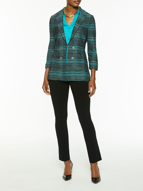Button Trim Plaid Knit Jacket-Misook